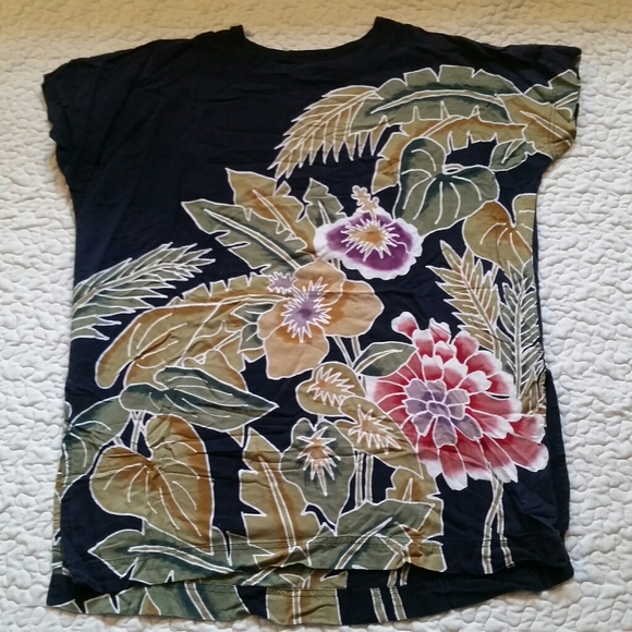 Vintage Back East M Black Floral RAYON Tunic Top